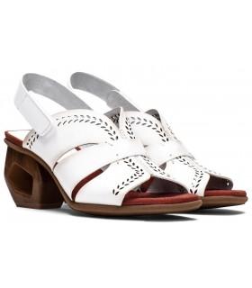 Sandalia de piel para mujer en color blanco