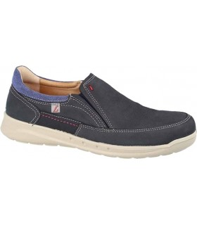 Zapato con elásticos en nobuck marino