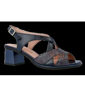 Sandalia de tacón en color azul marino