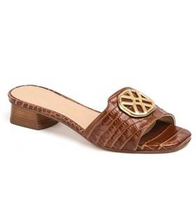 Sandalia para mujer en coco cuero