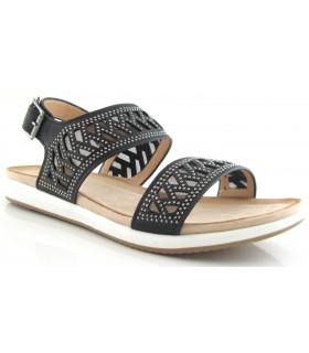 Sandalia plana de color negro