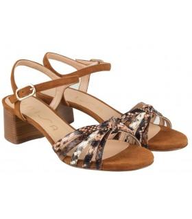 Sandalia para mujer combinada en color cuero