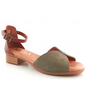 Sandalia para mujer en serraje kaki