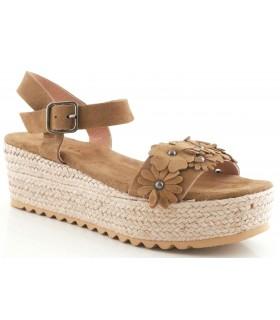 Sandalia con plataforma en serraje kaki