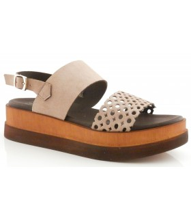 Sandalia troquelada de color taupe