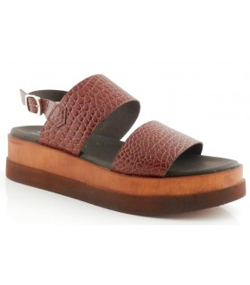 Sandalia de plataforma en coco brandy
