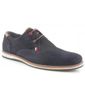 Zapatos de cordones en serraje marino