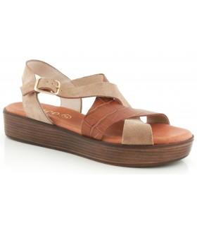 Sandalia con plataforma combinada kaki