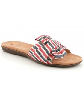 Sandalia tejido blanco, rojo y azul