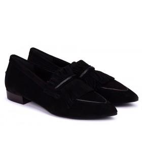 Zapatos con flecos en velour negro