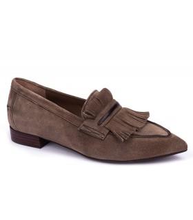 Zapatos con flecos en velour taupe