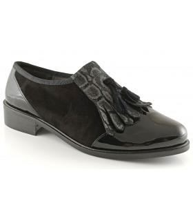 Zapato con fleco combinado negro