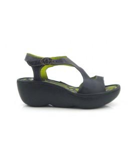 Sandalia de cuña negra