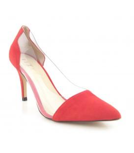 Zapato en ante rojo con vinilo
