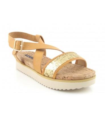 Sandalia de tiras color cuero y oro