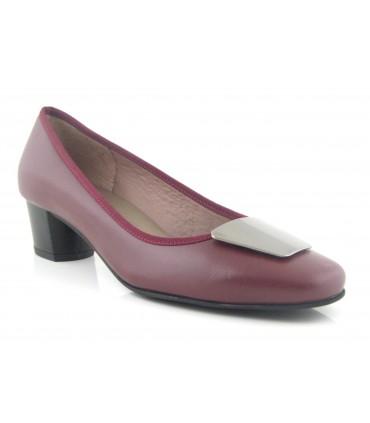 Zapato mujer adorno burdeos