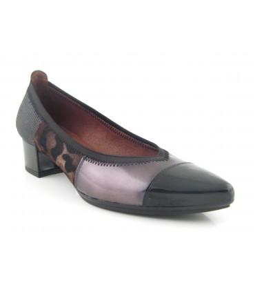 Zapato salón combinado leopardo