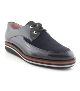 Zapato de cordones negro combinado