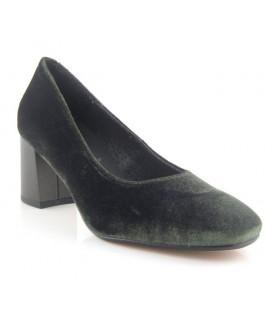Zapato salón terciopelo verde