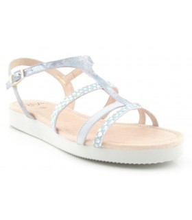 Sandalia plana para mujer color celeste
