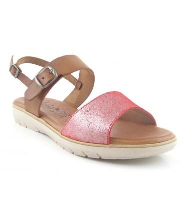 Sandalia combinada cuero y rojo
