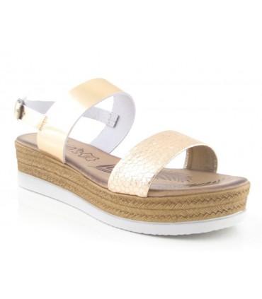 Sandalias de dos tiras color cobre