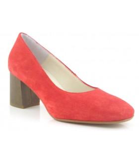 Zapato salón rojo tacón medio