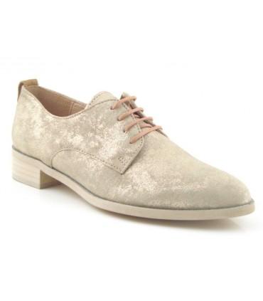Zapato de cordones metalizado platino