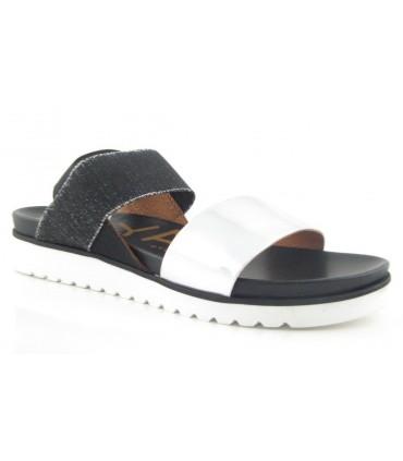 Sandalia combinación espejo plata para mujer