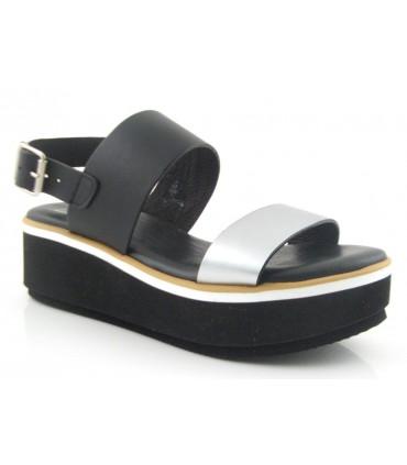 Sandalia negra de dos tiras