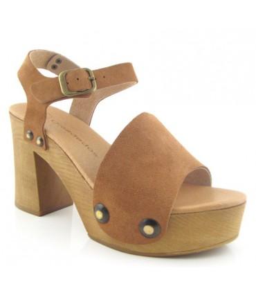 Sandalia de tacón alto tacón madera