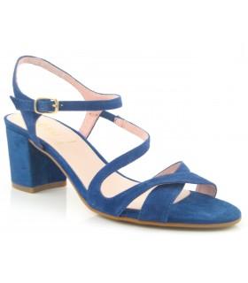 Sandalia de vestir ante azul