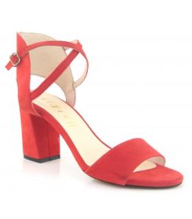 Sandalia color rojo tobillero